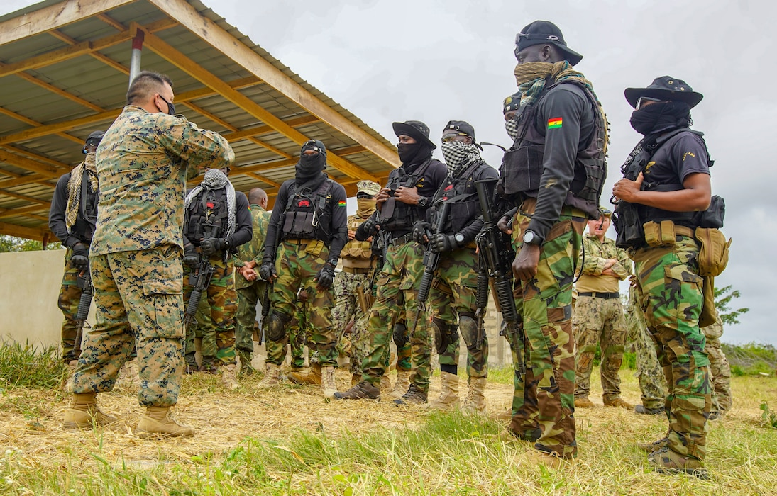 """Combined Task Force-68, deployed aboard the USS Hershel """"Woody"""" Williams, conducted Theatre Security Cooperation training with the SBS at NAVTRAC to enhance operational capabilities and readiness throughout Western Africa."""