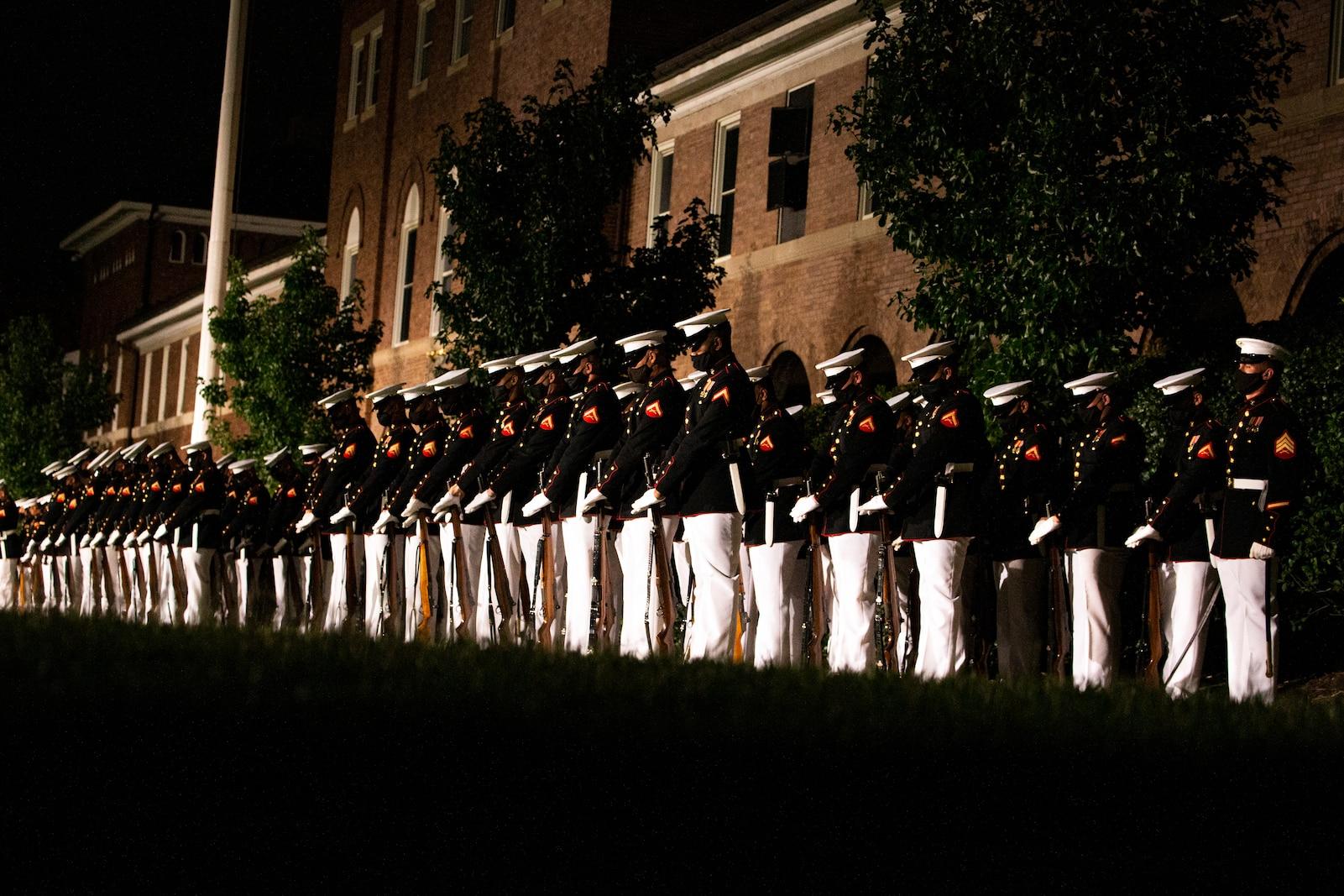 "Marines with Marine Barracks Washington ""fix bayonets"" during the Friday Evening Parade at MBW, Aug. 20, 2021."