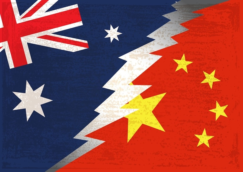 Conflict concept of Australian and Chinese flag background