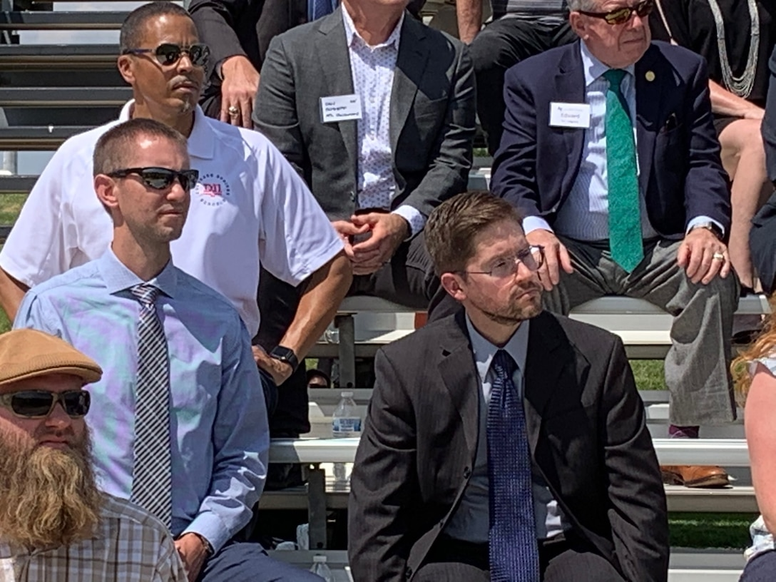 Brian Felker (right), Air Force Academy resident engineer, Rocky Mountain Area office, Omaha District, and John Jaszkowiak, project manager, Omaha District, attend official groundbreaking ceremony, August 6.