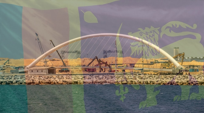 Sri Lankan flag superimposed over an image of the Colombo Port City project