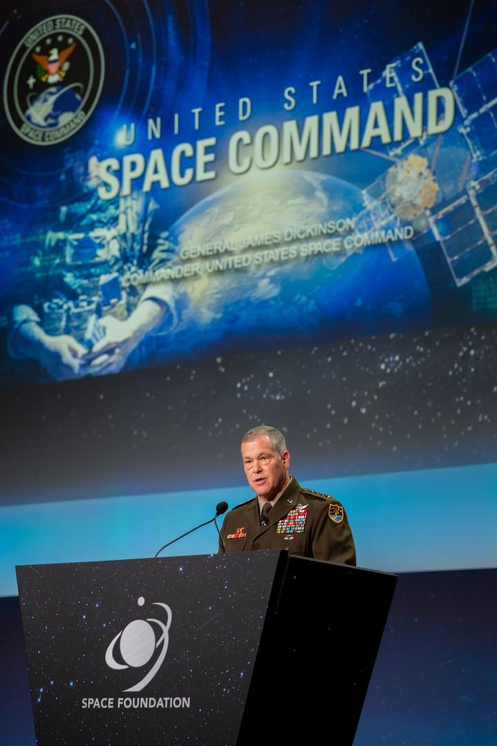 Army general speaks during Space Symposium.