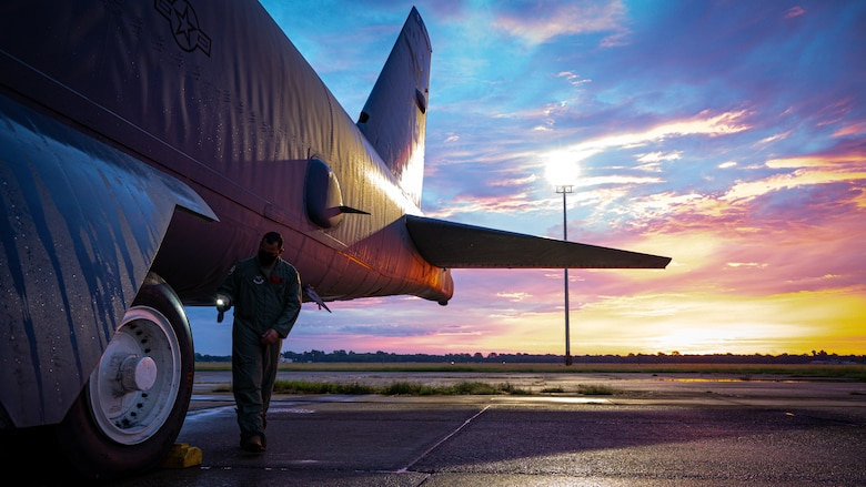Capt. Fernando Abreu Perez, 96th Bomb Squadron aircraft commander, performs pre-flight checks on a B-52H Stratofortress before takeoff during a readiness exercise at Barksdale Air Force Base, Louisiana, Aug. 18, 2021.
