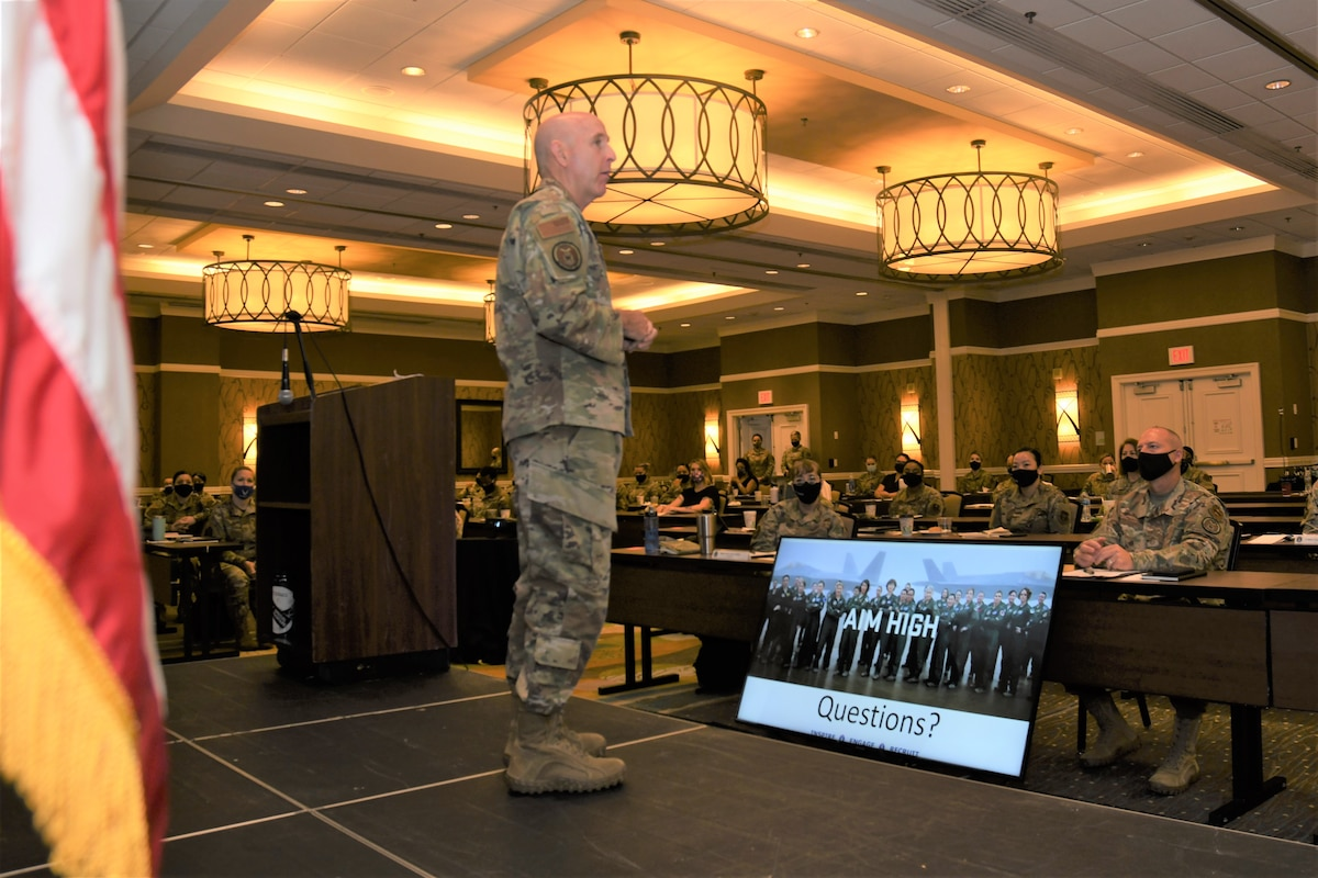 """Maj. Gen. Ed Thomas, Air Force Recruiting Service commander, takes questions from the audience during opening remarks at the """"Celebrating Sisterhood Through Empowerment, Progress, and Change"""" Women's Symposium in San Antonio, Texas, Aug. 10, 2021. The symposium lasted through Aug. 12 and had more than 100 participants from throughout the U.S. representing the Air Force, Air Force Reserve, and Air National Guard."""