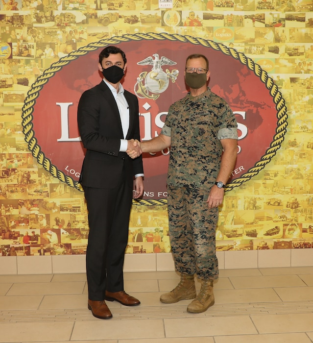 U.S. Sen. Jon Ossoff was greeted by Major General Joseph F. Shrader Commanding General, Marine Corps Logistics Command, during Ossoff's first official visit.