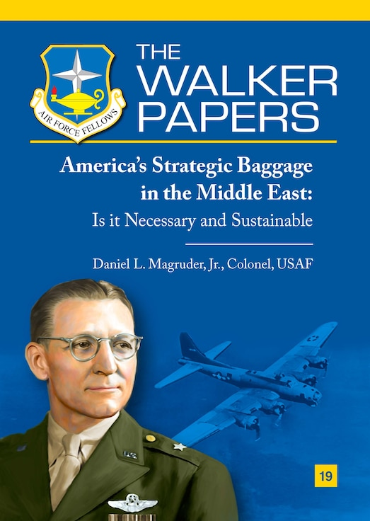 """Published amid the ongoing debate over the American withdrawal from Afghanistan, Air Force Col Dan Magruder provides an examination of the strategic rationale that underpins that decision. Magruder, a fellow at the Brookings Institution and a veteran of that conflict, argues that the """"strategic baggage"""" of a continued American military presence in the Middle East is hindering force recapitalization and a pivot to great power competition. By focusing on the most dangerous threats to national security, the Air Force, and the nation, can avoid the more common but less existential entanglements that inhibit our ability to adequately defend the country. [Col Daniel L. Magruder, Jr., USAF / 2021 / 57 pages / AU Press Code: P-132]"""