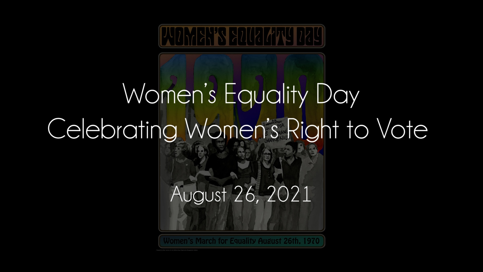 Text: Women's Equality Day: Celebrating Women's Right to Vote