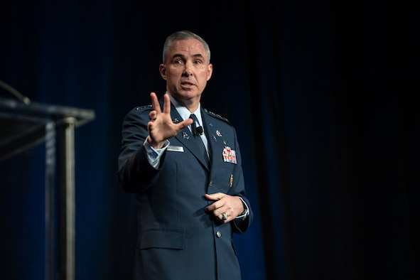 Lt. Gen. Stephen N. Whiting, Space Operations Command commander, addresses an audience of military and commercial space professionals at Space Symposium's Satellite Forum Breakfast on Aug. 25, 2021.