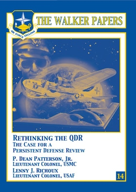 P. Dean Patterson and Lenny J. Richoux offer a cogent argument for a Department of Defense quadrennial defense review (QDR). Having been established in 1997, the QDR is a relatively new process. It examines the budgetary process to ensure that taxpayers' money is well spent. At the same time, it is equally important to ensure that each service receives its far share of the allocation pie. Abandoning the QDR, enlarging it, or creating a persistent QDR are the only viable options the authors believe are available. Of the three choices, Patterson and Richoux believe that creating a persistent QDR provides the best option. [Lt Col P. Dean Patterson, Jr., USMC and Lt Col Lenny J. Richoux, USAF / 2009 / 72 pages / ISBN: 978-1-58566-188-6 / AU Press Code: P-62]