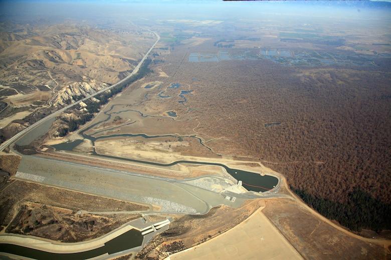 Aerial view of the Prado Dam, a U.S. Army Corps of Engineers structure near Corona, California.