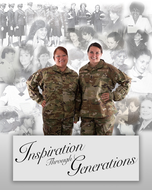 A graphic image showing a mother and daughter serving together in the air national guard and in the background the faces of women who served before them.