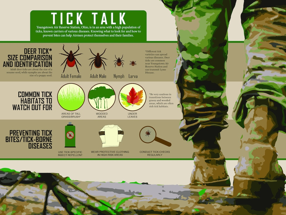 An infographic displays information on ticks, common habitats for the pest insect and tips for presenting tick-borne illness.
