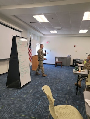 Master Sgt. Brett Rosebrook, 88th Surgical Operations Squadron, discusses the nonjudicial-punishment process during the additional-duty First Sergeant Symposium on Aug. 17 at Wright-Patterson Air Force Base. The symposium was conducted Aug. 16-20. (Contributed photo)