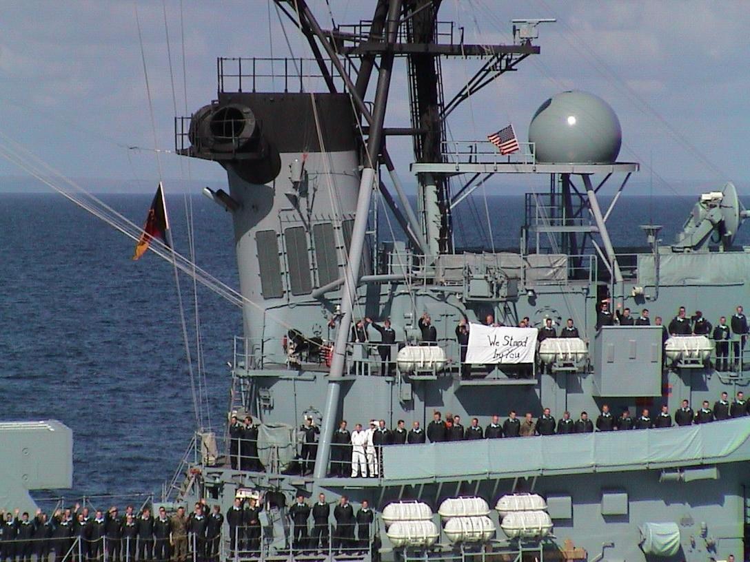 """We Stand By You"" Banner aboard German Destroyer Lutjens"