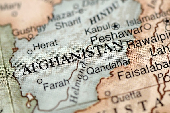 A close-up photograph of Afghanistan from a desktop globe.