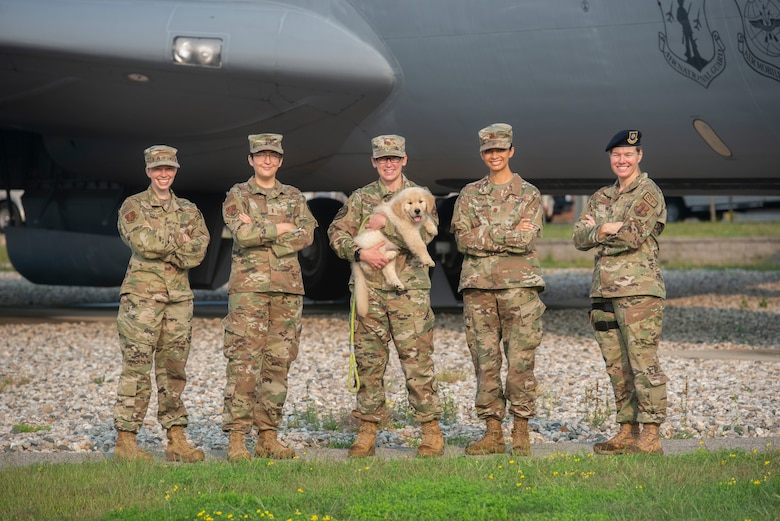 (From left to right) Staff Sgt. Victoria Nelson, 2nd Lt. Kirsten Arends, Maj. Shannon Van Splunder, Maj. Michelle Mastrobatista and Maj. Sherri Pierce, all of the 157th Air Refueling Wing, fill a variety of critical roles in planning for a sleek and exciting production of the Thunder Over New Hampshire Air Show, the first to be hosted by Pease Air National Guard base in a decade. (U.S. Air National Guard photo by Senior Master Sgt. Timm Huffman)
