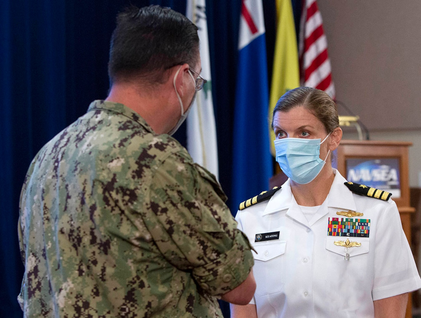 Cmdr. Cindy Keating discusses key elements of leadership during visit to NUWC Division Newport