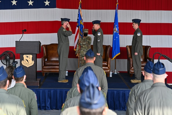 U.S. Air Force Lt. Col. David Easterling, incoming 43rd Flying Training Squadron commander, gives a speech at the 43rd FTS Change of Command ceremony at the Walker Center, Aug. 26, 2021, on Columbus Air Force Base, Miss. The 43rd FTS is an Air Force Reserve unit providing Active Guard Reserve (AGR) and Traditional Reserve (TR) instructor pilots to aid in creating pilots. (U.S. Air Force photo by Senior Airman Jake Jacobsen)
