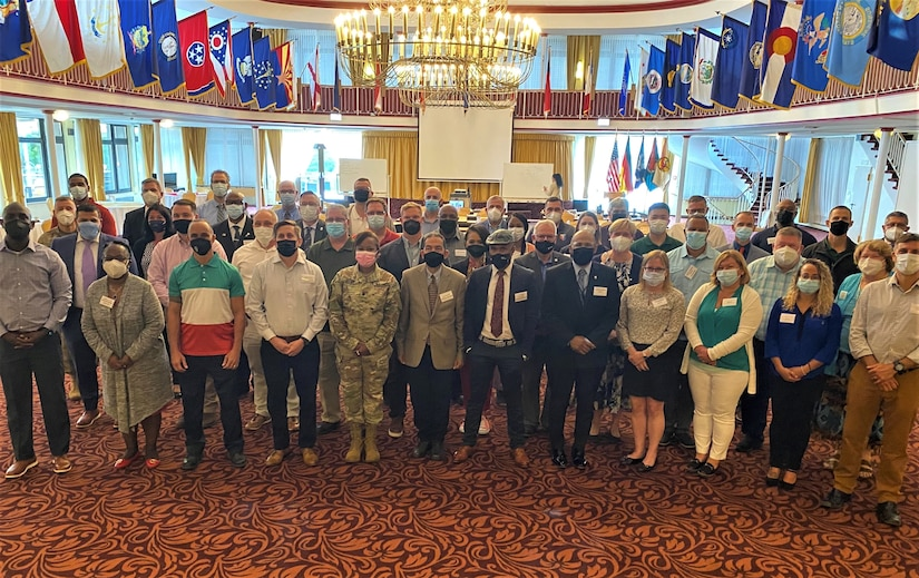 The 405th Army Field Support Brigade held a commander's forum Aug. 24-26 at the Armstrong's Club in Vogelweh, Kaiserslautern, Germany. Pictured here, forum attendees pose for as group photo. In attendance were battalion command teams and Logistics Readiness Center directors, as well as their deputies and some of their senior leaders. Also present were representatives from Logistics Civil Augmentation Program-Europe and LOGCAP-Africa, several senior Logistics Assistance Representatives, Base Operations Transportation and BASOPS Maintenance, the brigade's primary staff and the brigade command group.