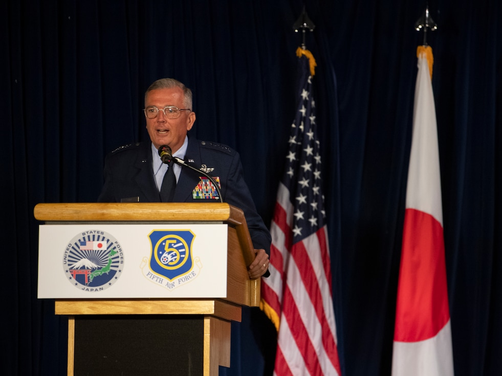 Lt. Gen. Ricky N. Rupp, U.S. Forces Japan and 5th Air Force commander, speaks during the USFJ and 5th AF change of command ceremony at Yokota Air Base, Japan, Aug. 27, 2021.