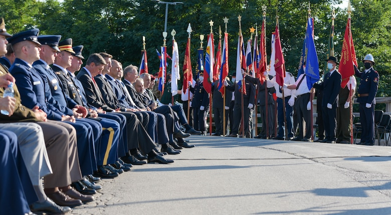 U.S. Air Force leadership from the 31st Fighter Wing, attend the Andraž Memorial in Andraž nod Polzelo, Slovenia, Aug. 25, 2021. In 1944, the U.S. B-17 bomber 'Dark Eyes' was shot down over Andraž nod Polzelo and the memorial to 'Dark Eyes' was dedicated on March 22, 2014. Members killed in action included U.S. Air Force 1st Lt. Herman S. Lavine, 2nd Lt Arthur L. Hyatt, 2nd Lt George J. Seamans, Staff Sgt. Michael A. Croccia, Staff Sgt. Virgil Lazar, Staff Sgt. Oscar Rome, Staff Sgt. Robert R. Cary, Staff Sgt. Harold E. Hansen and prisoners of War included 2nd Lt Louis M. Boehm and Staff Sgt. Kenneth C. Cook. (U.S. Air Force photo by Senior Airman Brooke Moeder)