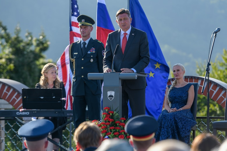 Borut Pahor, Slovenian President of the Republic, speaks at the Andraž Memorial in Andraž nod Polzelo, Slovenia, Aug. 25, 2021. In 1944, the U.S. B-17 bomber 'Dark Eyes' was shot down over Andraž nod Polzelo and the memorial to 'Dark Eyes' was dedicated on March 22, 2014. In December 2012, Pahor was elected the fourth President of the Republic of Slovenia and in November 2017 he was re-elected for a second term. (U.S. Air Force photo by Senior Airman Brooke Moeder)