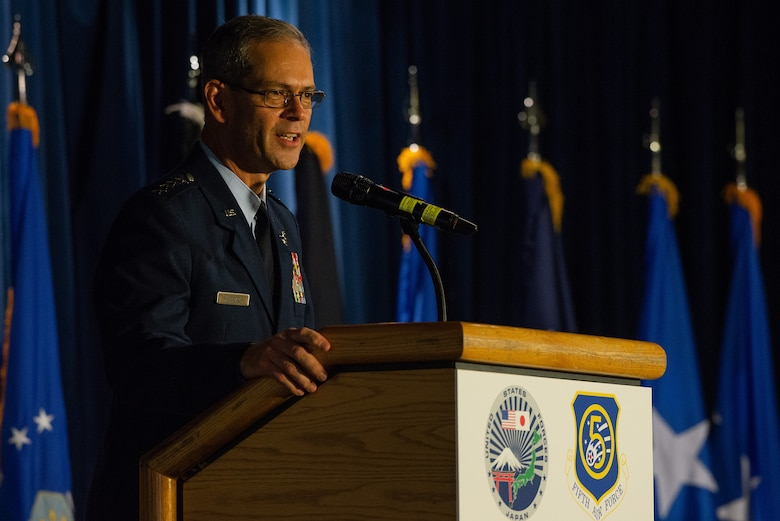 U.S. Air Force Gen. Ken S. Wilsbach, Pacific Air Forces commander, speaks during the U.S. Forces Japan and 5th Air Force change of command ceremony at Yokota Air Base, Japan, Aug. 27, 2021.