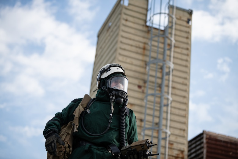 A search and extraction medic assigned to one of the Indiana National Guard emergency response functions searches for victims during a simulated earthquake scenario as part of exercise Homeland Defender 2021 at Muscatatuck Urban Training Center, Ind., Aug. 14, 2021. Homeland Defender is an annual disaster response training exercise involving military and civilian emergency management agencies from throughout the Hoosier state, where emergency responders coordinate and deploy together in scenarios that reflect real-life emergencies and disasters. (U.S. Air National Guard photo by Tech. Sgt. L. Roland Sturm)