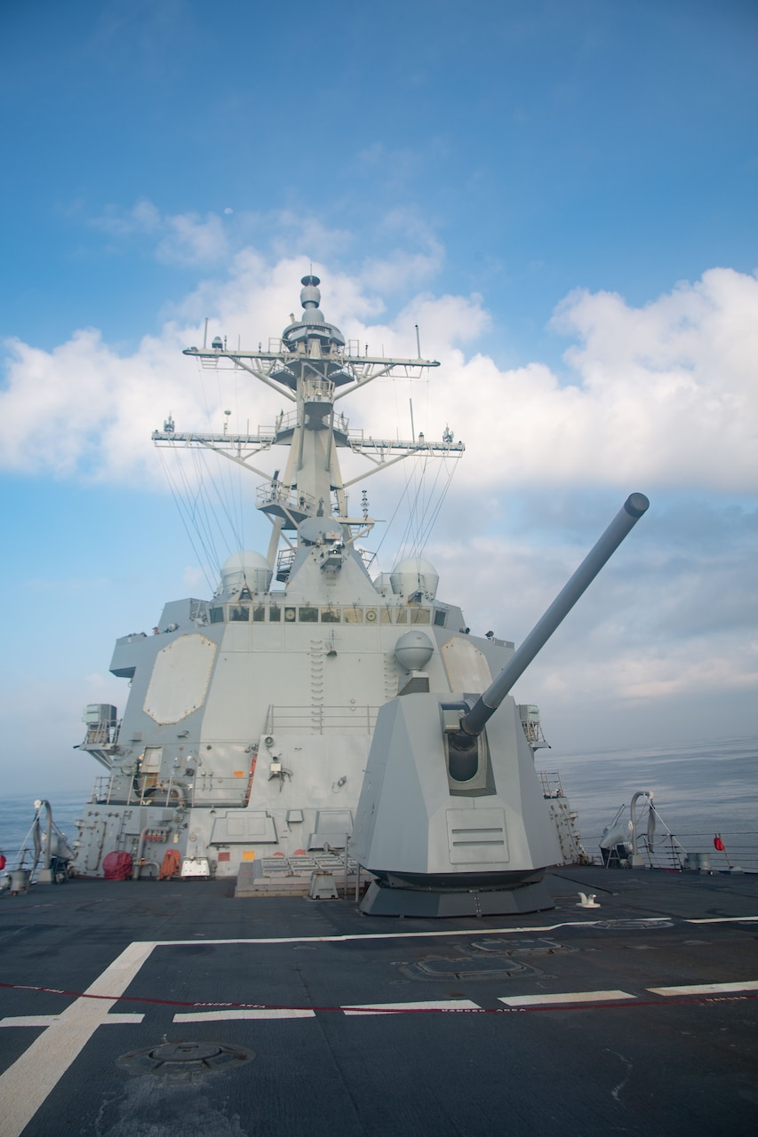 TAIWAN STRAIT (Aug. 27, 2021) Arleigh-burke class guided-missile destroyer USS Kidd (DDG 100) transits the Taiwan Strait during a routine transit, Aug. 27. Kidd is deployed supporting Commander, Task Force (CTF) 71/Destroyer Squadron (DESRON) 15, the Navy's largest forward-deployed DESRON and U.S. 7th Fleet's principal surface force.