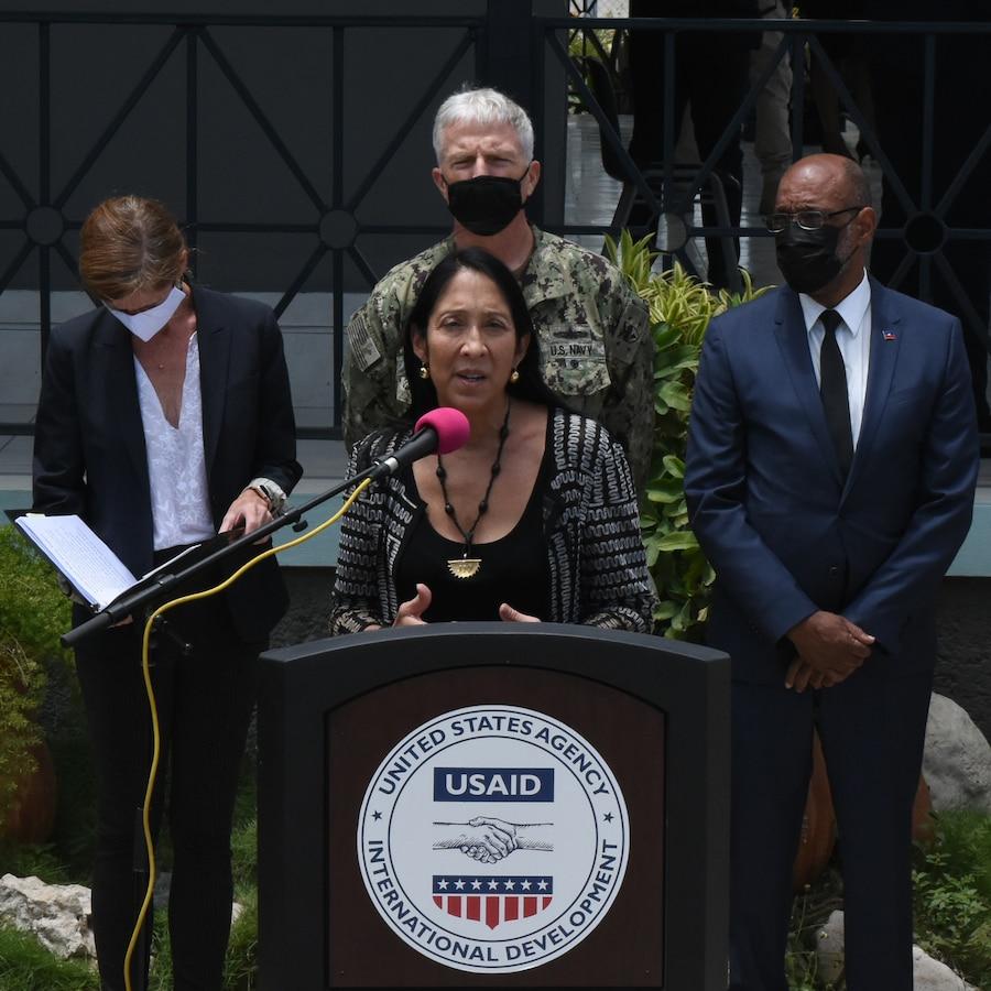 Hon. Michele Sison, U.S. Ambassador to Haiti, gives a press brief to the media in Port-au-Price, Haiti Aug. 26, 2021.