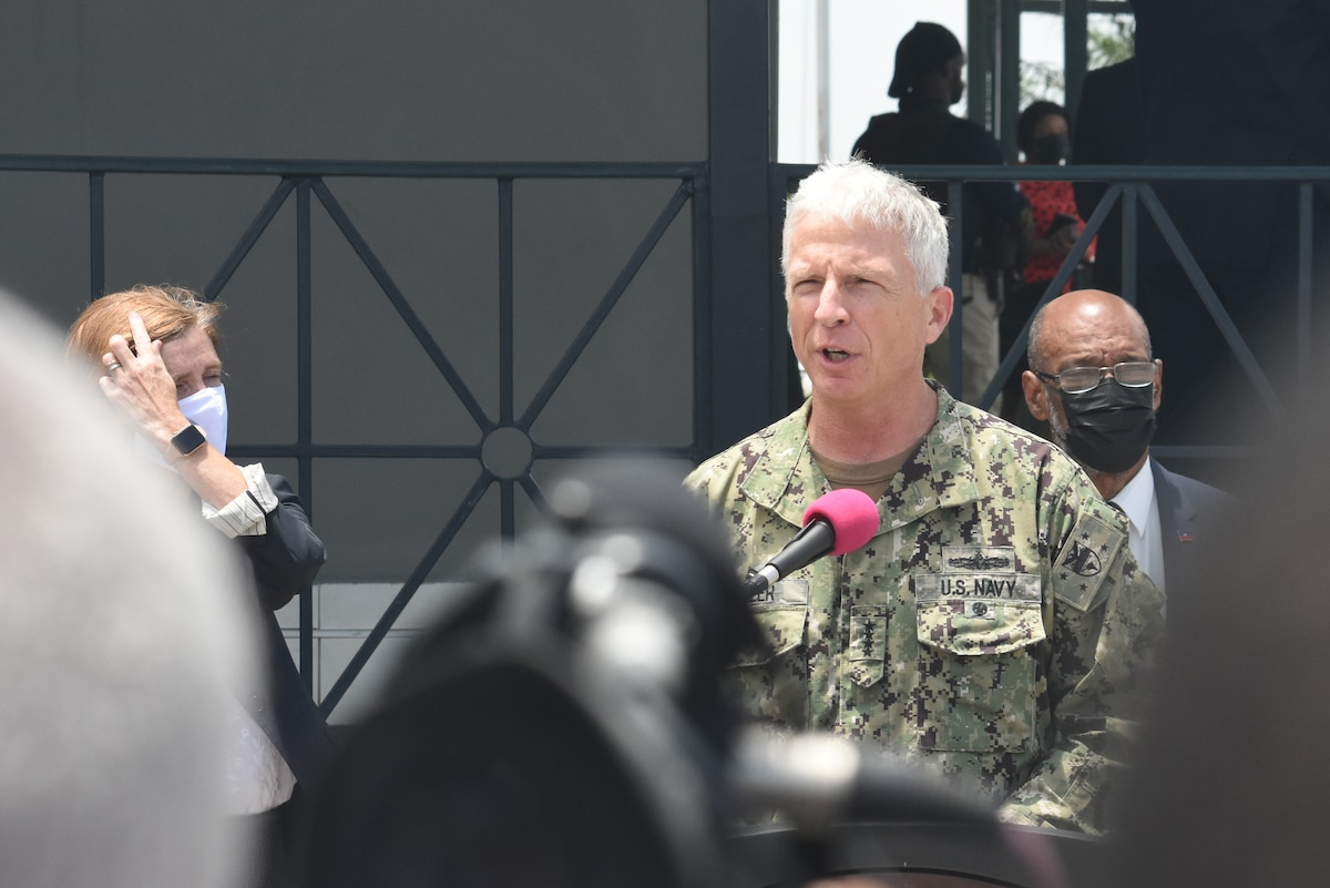 Navy Adm. Craig Faller, U.S. Commander of Southern Command, gives a press brief in Port-au-Prince, Haiti Aug. 26, 2021.