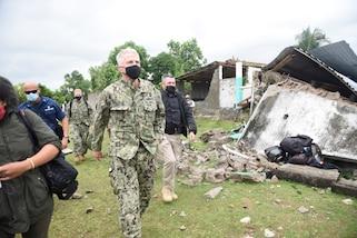 U.S. Navy Adm. Craig Faller, commander of U.S. Southern Command (USSOUTHCOM) arrives in Maniche, Haiti, Aug. 26, 2021.