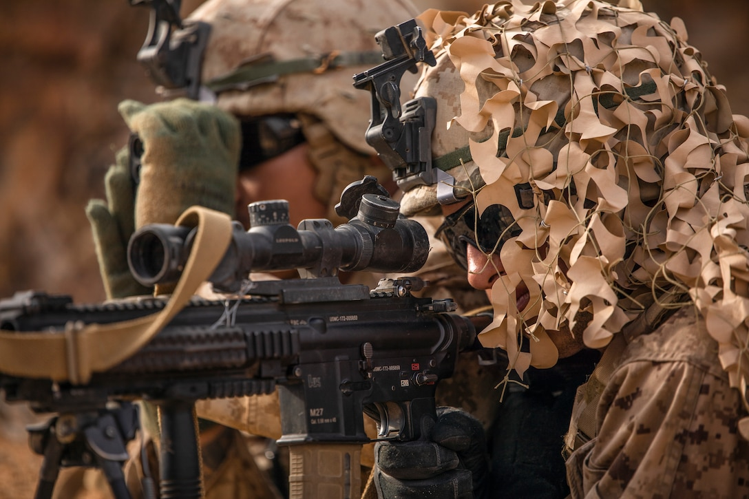 U.S. Marines with Echo Company, 2nd Battalion, 23rd Marines, provide security on Range 410A during Integrated Training Exercise (ITX) 4-21 at Marine Corps Air Ground Combat Center, Twentynine Palms, California on July 30th, 2021. ITX is the culmination of Marine Forces Reserve units' training cycle as they participate in a live-fire, combined arms exercise as a part of an integrated Marine Air Ground Task Force. (U.S. Marine Corps photo by Sgt. JVonnta Taylor)
