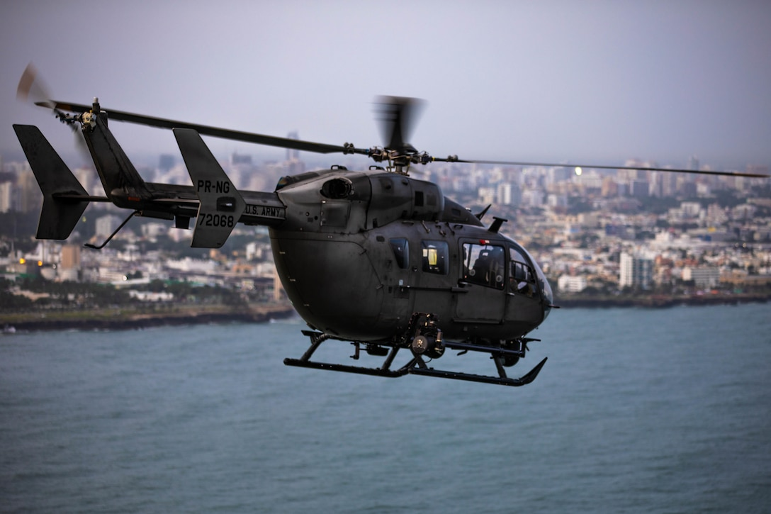 UH-72 helicopter from the Puerto Rico Army National Guard Aviation departs to Port-au-Prince, Haiti, Aug. 25, 2021.