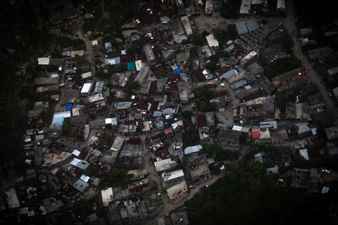 Aerial view of a community from a UH-72 helicopter of the Puerto Rico Army National Guard Aviation, Haiti, Aug. 25, 2021.