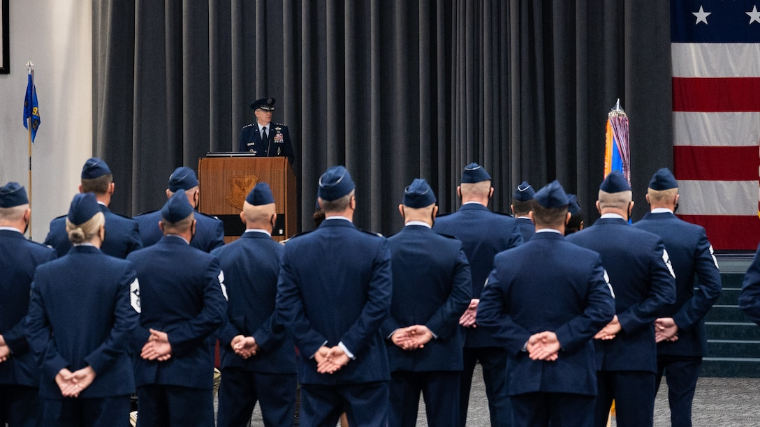 Gen. Timothy Ray, outgoing Air Force Global Strike Command commander, makes remarks during the AFGSC change of command ceremony at Barksdale Air Force Base, Louisiana, Aug. 27, 2021. Ray held command of AFGSC since 2018, leading the 33,700 professionals who provide the nation with strategic deterrence, global strike and combat support anytime, anywhere. (U.S. Air Force photo by Senior Airman Jacob B. Wrightsman)
