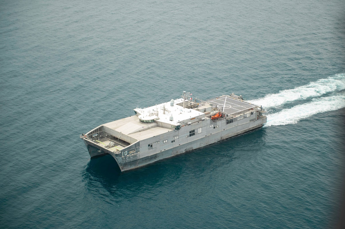 The Spearhead-class expeditionary fast transport ship USNS Burlington (T-EPF 10) operates off the coast of Haiti, Aug. 25, 2021.