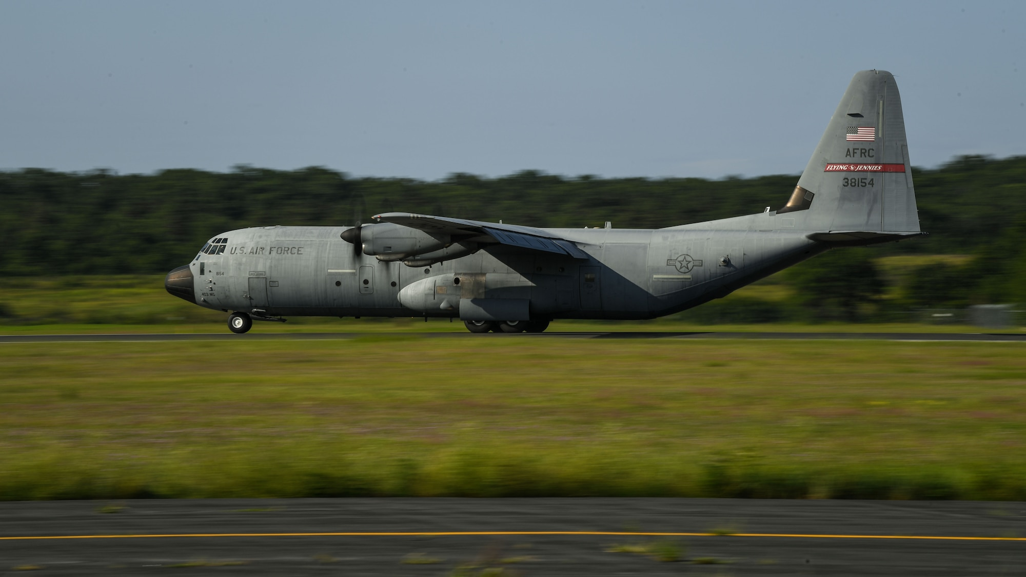 A U.S. Air Force C-130J Super Hercules aircraft assigned to the 815th Airlift Squadron with the 403rd Wing at Keesler Air Force Base, Mississippi, arrives at Fort McCoy Army Airfield for aeromedical evacuation training during exercise Patriot Warrior at Fort McCoy, Wisconsin, Aug. 13, 2021. Patriot Warrior is Air Force Reserve Command's premier exercise providing Airmen an opportunity to train with joint and international partners in airlift, aeromedical evacuation, and mobility support. The exercise builds on capabilities for the future fight, increasing the readiness, lethality and agility of the Air Force Reserve. (U.S. Air Force Photo by Tech. Sgt. Corban Lundborg)