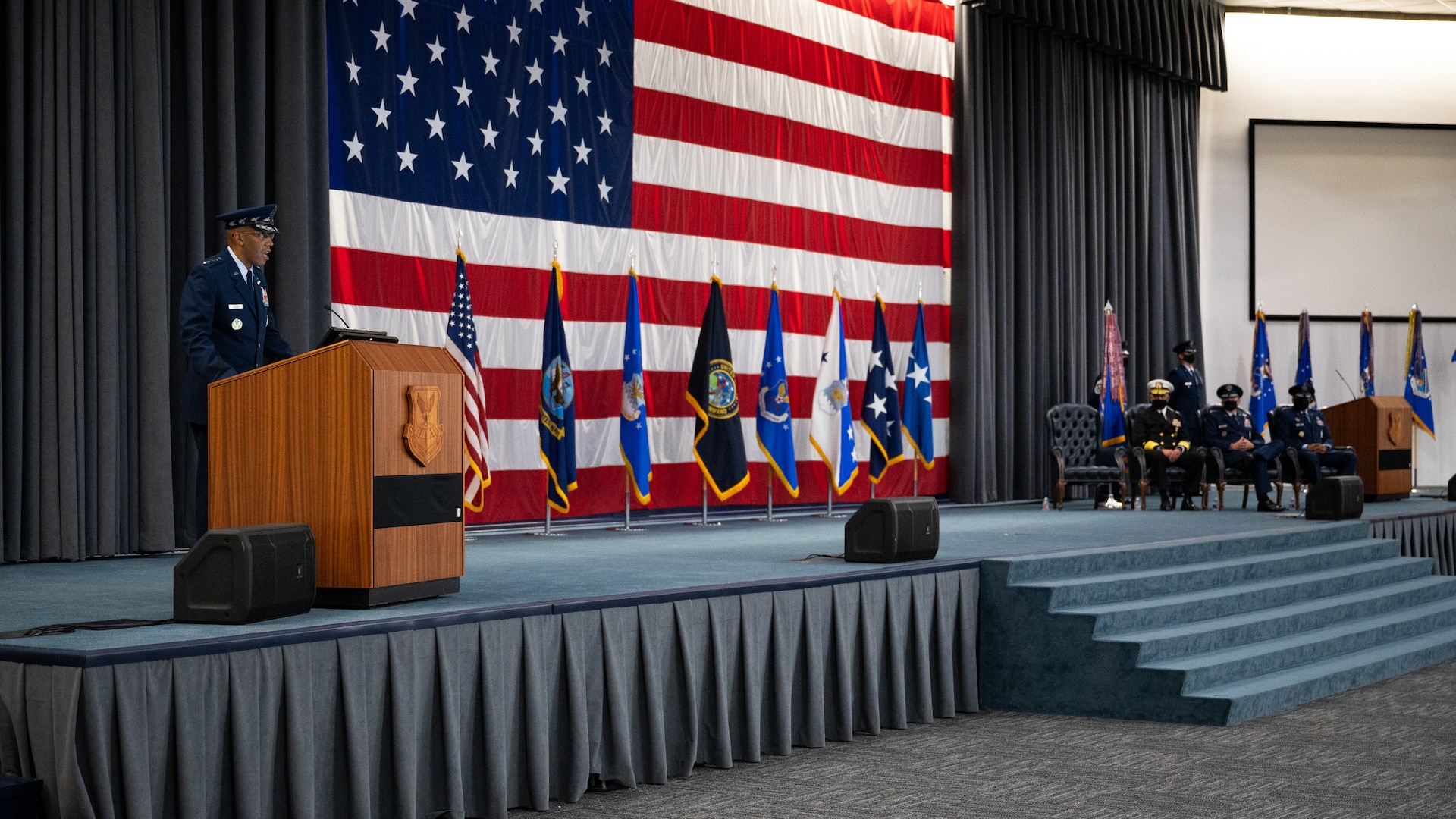 Air Force Chief of Staff Gen. CQ Brown, Jr., makes remarks during the Air Force Global Strike Command change of command ceremony at Barksdale Air Force Base, Louisiana, Aug. 27, 2021. The ceremony is a military tradition that represents a formal transfer of authority and responsibility for a unit from one commanding or flag officer to another. (U.S. Air Force photo by Senior Airman Jacob B. Wrightsman