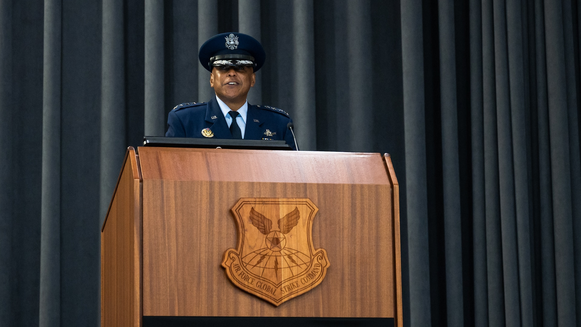 Gen. Anthony Cotton, incoming Air Force Global Strike Command commander, makes remarks during the AFGSC change of command ceremony at Barksdale Air Force Base, Louisiana, Aug. 27, 2021. Previously serving as AFGSC's deputy commander, Cotton takes command of the 33,700 professionals who provide the nation with strategic deterrence, global strike and combat support anytime, anywhere. (U.S. Air Force photo by Senior Airman Jacob B. Wrightsman)