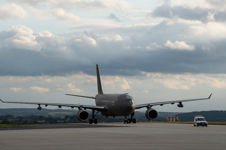 A Republic of Singapore Air Force A330 Multi-Role Tanker Transport aircraft taxis on the runway of Spangdahlem Air Base, Germany, Aug. 27, 2021.
