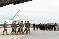 A U.S. Marine Corps carry team transfers the remains of Marine Corps Lance Cpl. Jared M. Schmitz of St. Charles, Missouri, August 29, 2021 at Dover Air Force Base, Delaware. Schmitz was assigned to 2nd Battalion, 1st Marine Regiment, 1st Marine Division, I Marine Expeditionary Force, Camp Pendleton, California. (U.S. Air Force photo by Jason Minto)