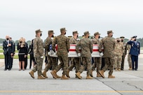 A U.S. Marine Corps carry team transfers the remains of Marine Corps Cpl. Daegan W. Page of Omaha, Nebraska, August 29, 2021 at Dover Air Force Base, Delaware. Page was assigned to 2nd Battalion, 1st Marine Regiment, 1st Marine Division, I Marine Expeditionary Force, Camp Pendleton, California. (U.S. Air Force photo by Jason Minto)