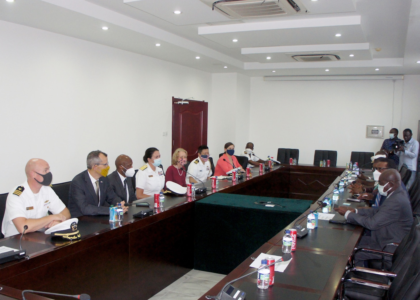 Rear Adm. Nancy Lacore, Chief of Staff, U.S. Naval Forces Europe and Africa and U.S. Sixth Fleet and Mark A. Schapiro, Foreign Policy Advisor, U.S. Naval Forces Europe-Africa meet with government and community leaders of Bata, Equatorial Guinea, Aug. 25, 2021. U.S. Sixth Fleet, headquartered in Naples, Italy, conducts the full spectrum of joint and naval operations, often in concert with allied and interagency partners, in order to advance U.S. national interests and security and stability in Europe and Africa.