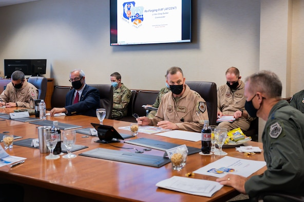 U.S. Air Force Lt. Gen. Gregory Guilllot, commander of 9th Air Force (Air Forces Central), briefs Gen. Mark Kelly, commander of Air Combat Command, at Shaw Air Force Base, South Carolina, August 13, 2021. The generals discussed future plans for Shaw, to include building resiliency of 9th Air Force (AFCENT) by increasing the number of Airmen who live and work here over the coming years. The first of these plans was realized this past spring with the repositioning of the 'KINGPIN' mission – and the more than 150 Airmen and coalition partners who support it - from the Middle East to Sumter.
