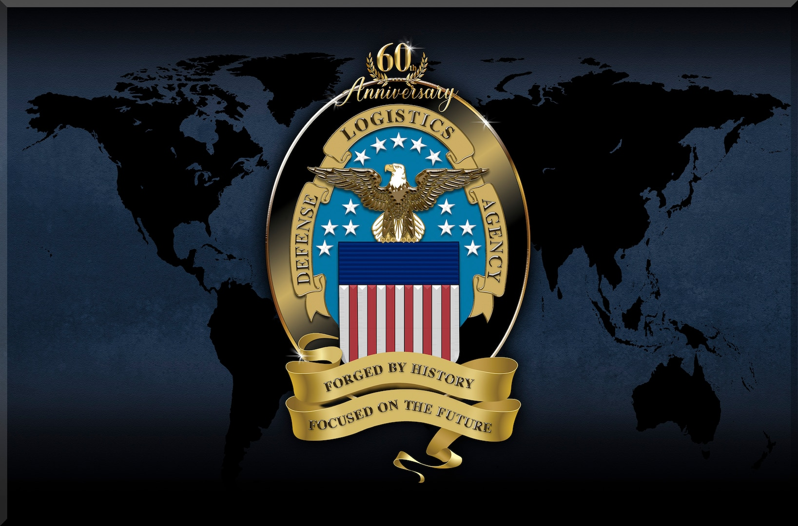 DLA logo showing an eagle, stars and stripes with the numbers 60.
