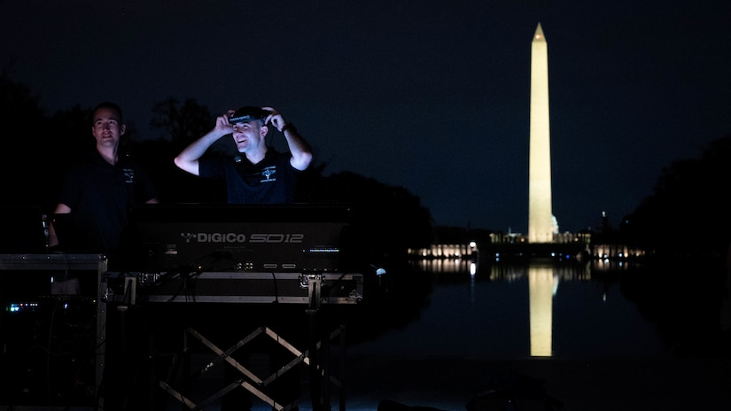 The United States Air Force Band's Airmen of Note performs at the Lincoln Memorial