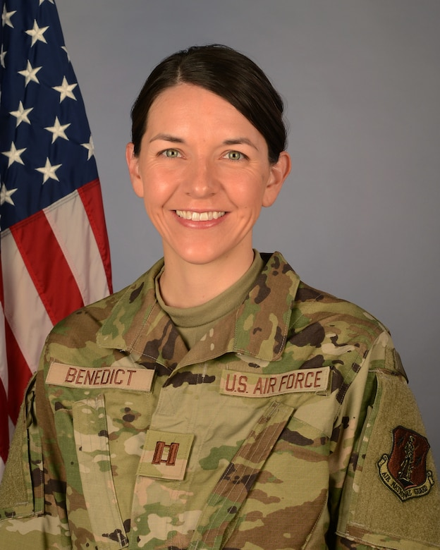 U.S. Air Force Capt. Melissa Benedict, 169th Fighter Wing chaplain, August 15, 2021 at McEntire Joint National Guard Base, South Carolina. (U.S. Air National Guard photo by Senior Master Sgt. Edward Snyder, 169th Fighter Wing Public Affairs)
