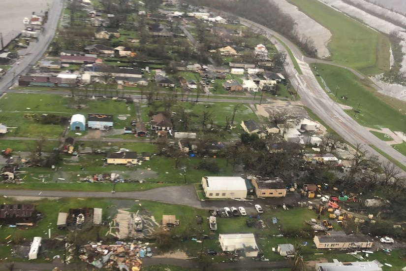 An aerial view shows the aftermath of a hurricane.