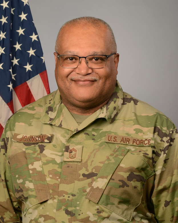 U.S. Air Force Chief Master Sgt. Marcus Johnson, 169th Communications Squadron superintendent, August 12, 2021. (U.S. Air National Guard photo by Lt. Col. James St. Clair, 169th Fighter Wing Public Affairs)